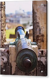 Close-up Of A Cannon At A Castle Acrylic Print by Panoramic Images