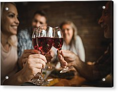 Close Up Of A Family Toasting With Red Wine At Home. Acrylic Print by Skynesher