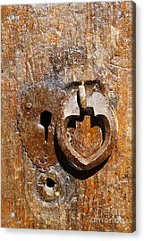Close Up Of A Heart Shaped Lock On A Door In The Village Of Abyaneh In Iran Acrylic Print by Robert Preston