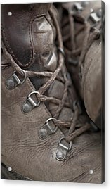 Close- Up Of A Pair Of Old Hiking Acrylic Print