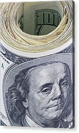 Close-up Of A Roll Of Us $100 Bills Acrylic Print by Jaynes Gallery