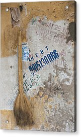 Close-up Of A Straw Broom Hanging Acrylic Print
