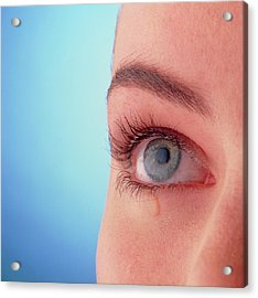 Close-up Of A Woman's Blue Eye With A Tear-drop Acrylic Print by Phil Jude/science Photo Library