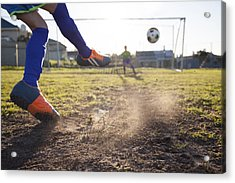 Close Up Of Boy Taking Soccer Penalty Acrylic Print by Alistair Berg