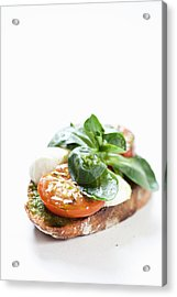 Close Up Of Bread With Cheese And Tomato Acrylic Print by Henn Photography