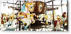 Close-up Of Carousel Horses, Coney Acrylic Print by Panoramic Images