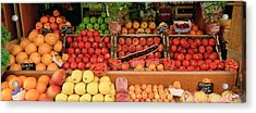 Close-up Of Fruits In A Market, Rue De Acrylic Print by Panoramic Images