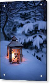 Close Up Of Glowing Lantern In Snow Acrylic Print by Cultura Rm Exclusive/christoffer Askman