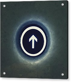Close-up Of Going Up Button Of Elevator Acrylic Print by Jeff Griffin / Eyeem