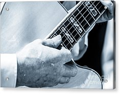 Close Up Of Guitarist Hand Strumming Acrylic Print