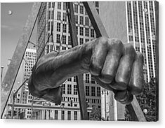 Close Up Of Joe Louis Fist Black And White  Acrylic Print