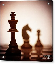 Close Up Of King Chess Piece Acrylic Print by Amanda Elwell