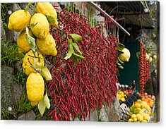 Close-up Of Lemons And Chili Peppers Acrylic Print