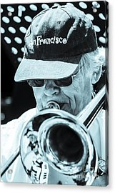 Close Up Of Male Trombone Player In Baseball Cap Acrylic Print