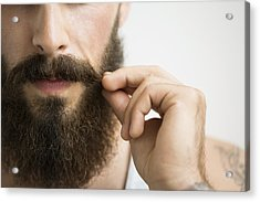 Close Up Of Man Touching Mustache Acrylic Print by Hero Images