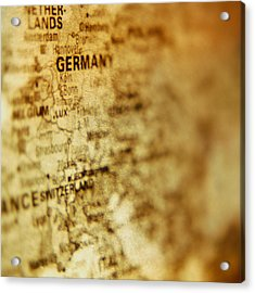 Close-up Of Map Of Western Europe Acrylic Print by Ryan McVay
