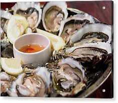 Close-up Of Oysters Served In Plate Acrylic Print by Kelvin Kam / Eyeem
