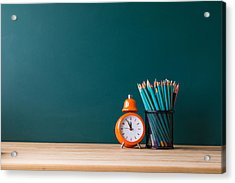 Close-up Of Pencils In Container By Alarm Clock On Table Acrylic Print by Shih Wei Wang / EyeEm
