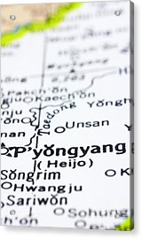 close up of Pyongyang on map-North Korea Acrylic Print by Tuimages