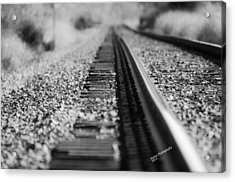 Acrylic Print featuring the photograph Close Up Of Rail Road Tracks by Karen Kersey