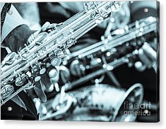Close Up Of Saxophonist Fingering Acrylic Print