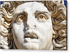 Close Up Of Sculpted Medusa Head At The Forum Of Severus At Leptis Magna In Libya Acrylic Print