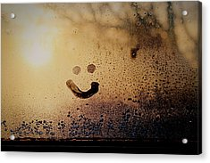 Close-up Of Smiley On Condensed Glass Acrylic Print by Lacy Custance / Eyeem