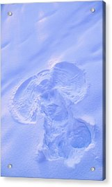 Close Up Of Snow Angel At Sunset With Acrylic Print by Kevin Smith