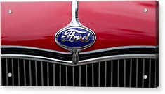 Close-up Of The Logo Of Fords Car Acrylic Print by Panoramic Images