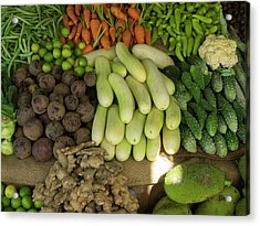 Close-up Of Vegetables For Sale On Main Acrylic Print by Panoramic Images