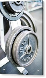 Close-up Of Weight Plates Acrylic Print by Science Photo Library