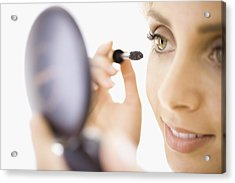 Close-up Of Woman Applying Makeup Acrylic Print by Jupiterimages, Brand X Pictures