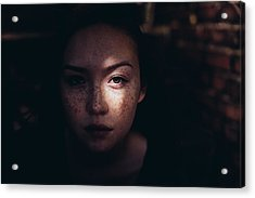 Close-up Portrait Of Woman Acrylic Print by Jonas Hafner / EyeEm