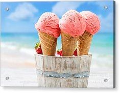 Close Up Strawberry Ice Creams Acrylic Print by Amanda Elwell