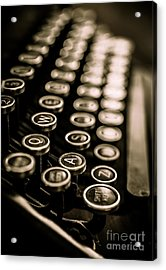 Close Up Vintage Typewriter Acrylic Print by Edward Fielding