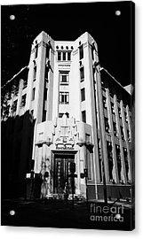 closed branch of banco estado the state bank Santiago Chile Acrylic Print by Joe Fox