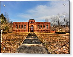 Closed School In Small Town Wv Acrylic Print by Dan Friend