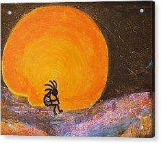 Closer View Kokopelli On A Marmalade Moon Night Acrylic Print by Anne-Elizabeth Whiteway