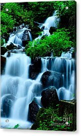Closeup Of Beautiful Waterfall In Karuizawa Japan Acrylic Print