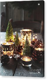 Acrylic Print featuring the photograph Closeup Of Candles And Decorations For The Holidays by Sandra Cunningham