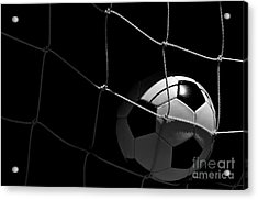 Closeup Of Soccer Ball In Goal Acrylic Print