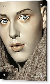 Closeup On Mannequin's Face Acrylic Print by Sophie Vigneault