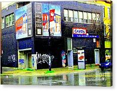 Closing Time Montreal Factory Glatts Produits Quebec Meats Graffiti Art City Scenes Carole Spandau Acrylic Print by Carole Spandau