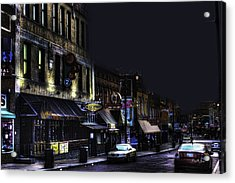 Memphis - Night - Closing Time On Beale Street Acrylic Print by Barry Jones
