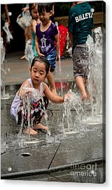 Clothed Children Play At Water Fountain Acrylic Print