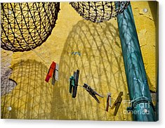 Clothesline And Fish Traps Acrylic Print by Amy Fearn