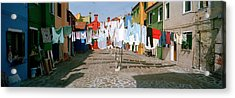 Clothesline In A Street, Burano Acrylic Print by Panoramic Images