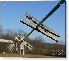 Acrylic Print featuring the photograph Clothespin In Winter by Jane Ford