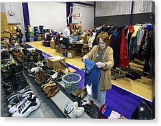 Clothing Donations Acrylic Print by Jim West