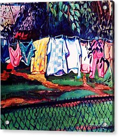 Clothing Line Acrylic Print by Ecinja Art Works